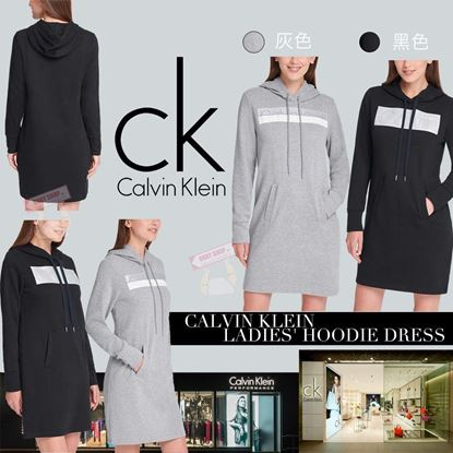 Picture of *貨品已截單* A P4U 4底: Calvin Klein 女款LOGO長袖連帽洋裝