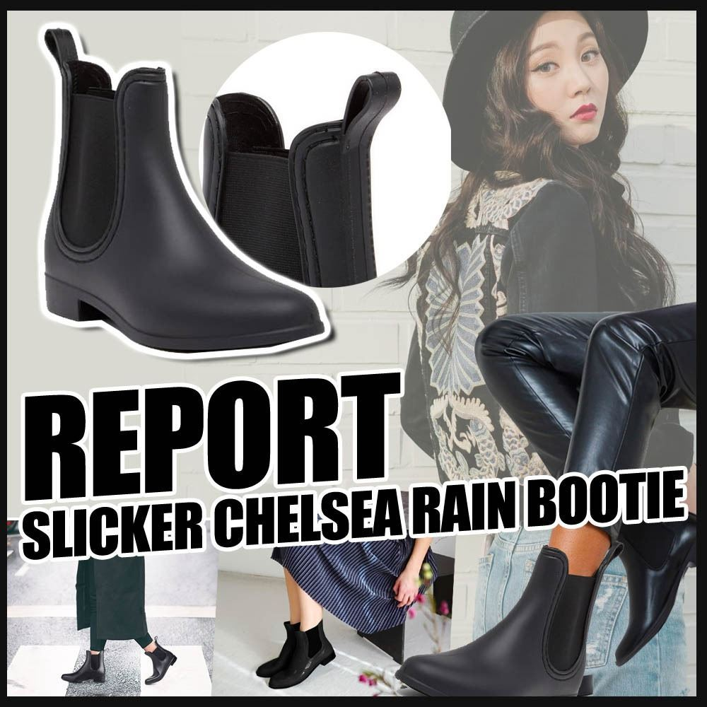 圖片 **貨品已截單**A P4U 6中: Report 女裝黑色雨靴