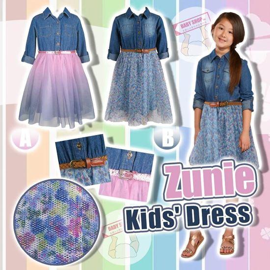 圖片 **貨品已截單**A P4U 9中: Zunie 女童牛仔上衣連衣裙