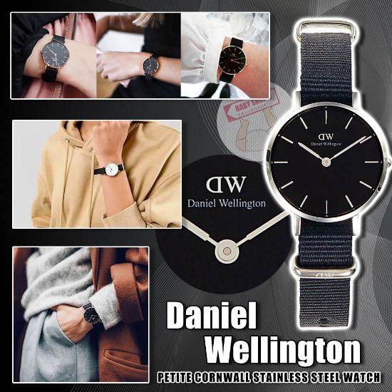 圖片 **貨品已截單**A P4U 空運: Daniel Wellington 女裝銀色邊黑盤尼龍錶