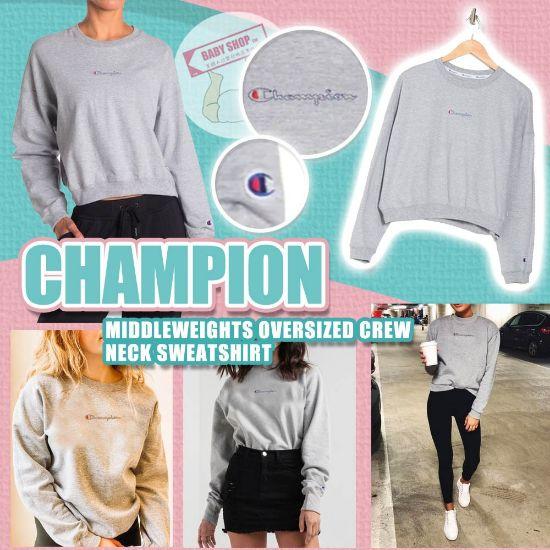 圖片 A P4U 11中: Champion 女裝橫字小Logo圓領長袖 L
